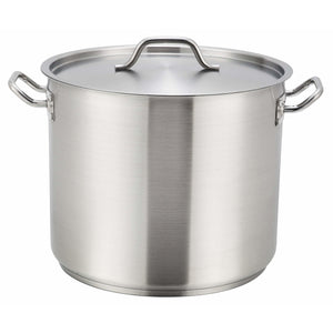 Winco - SST-24 - 24qt Stainless Steel Stock Pot w/Cover - Cookware - Maltese & Co New and Used  restaurant Equipment