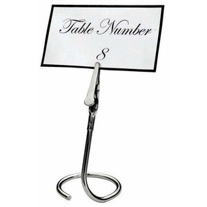 Winco - TCD-3C - Table Sign Clips, C Swirl Base, 6pcs/pk, Chrome Plated - Buffet Service