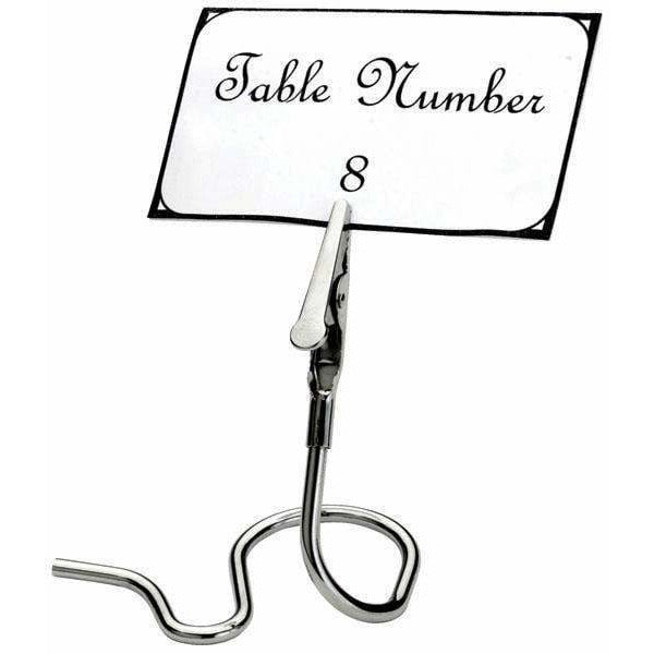 Winco - TCD-3S - Table Sign Clips, S Swirl Base, 6pcs/pk, Chrome Plated - Buffet Service