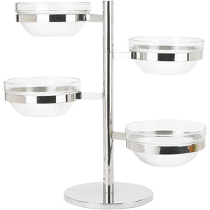 Winco - TDSF-4 - 4 Tier Swing Arm Glass Bowl Display Set - Buffet Service