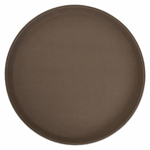"Winco - TFG-14N - 14"" Premium Fiberglass Tray, Non-slip, Brown, Round - Dining Service - Maltese & Co New and Used  restaurant Equipment"