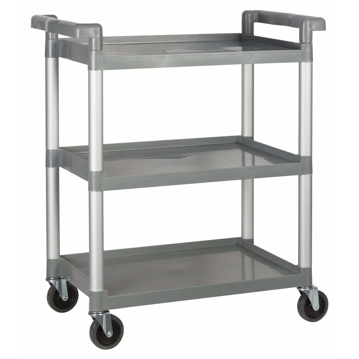 "Winco - UC-2415G - Plastic Utility Cart, 32""L x 16-1/8""W x 36-3/4""H, 3 Tier, Gray - Bussing - Maltese & Co New and Used  restaurant Equipment"
