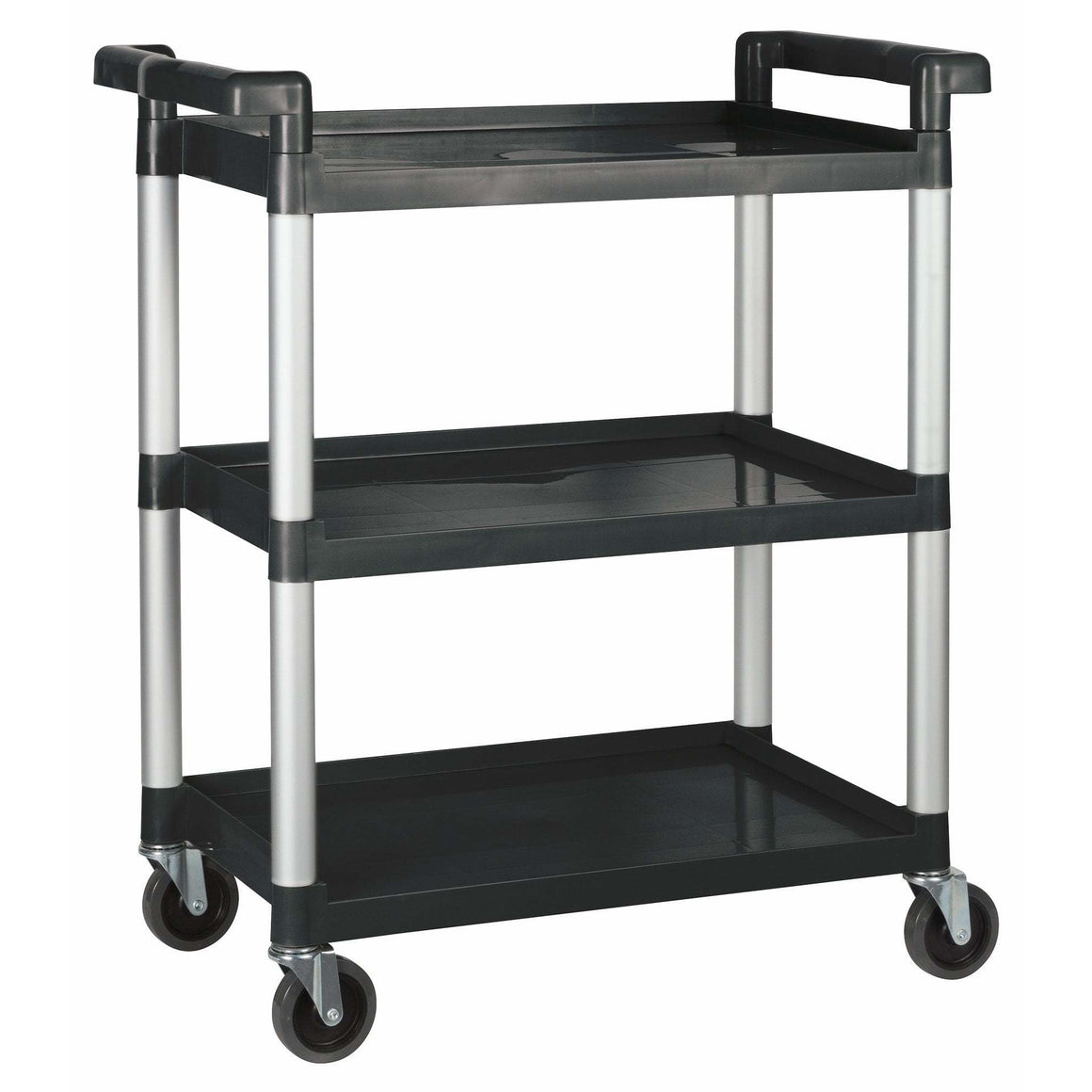 "Winco - UC-2415K - Plastic Utility Cart, 32""L x 16-1/8""W x 36-3/4""H, 3 Tier, Black - Bussing - Maltese & Co New and Used  restaurant Equipment"