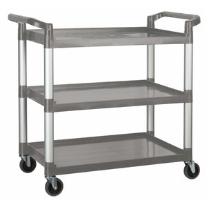 "Winco - UC-3019G - Plastic Utility Cart, 40-3/4""L x 19-1/2""W x 37-3/8""H, 3 Tier, Gray - Bussing"