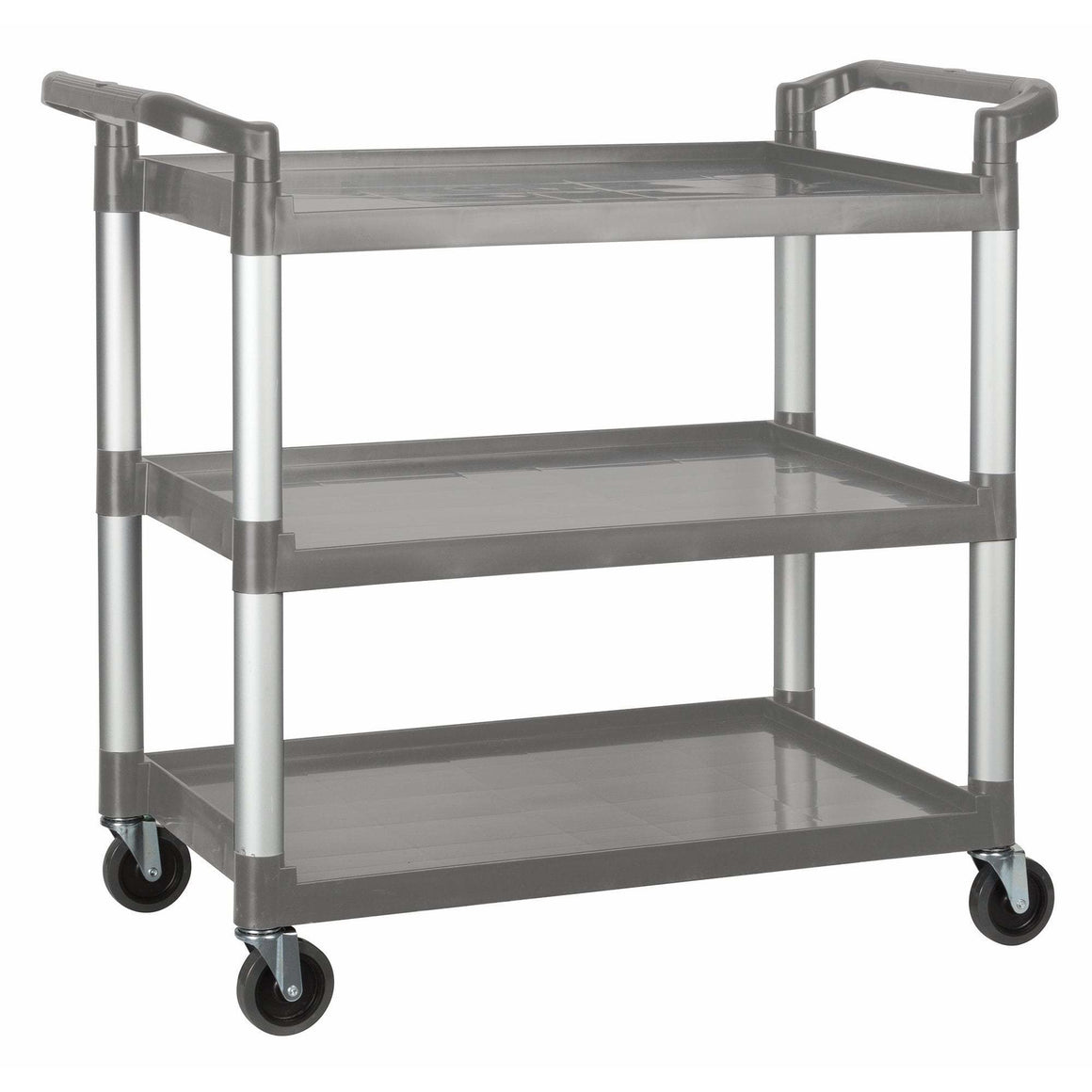 "Winco - UC-3019G - Plastic Utility Cart, 40-3/4""L x 19-1/2""W x 37-3/8""H, 3 Tier, Gray - Bussing - Maltese & Co New and Used  restaurant Equipment"