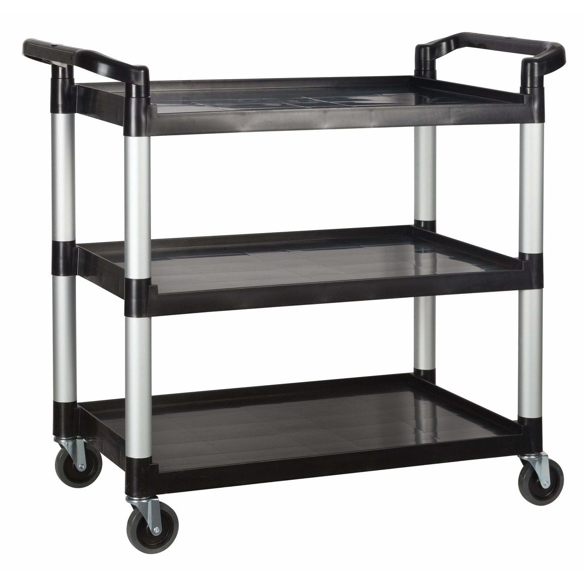 "Winco - UC-3019K - Plastic Utility Cart, 40-3/4""L x 19-1/2""W x 37-3/8""H, 3 Tier, Black - Bussing - Maltese & Co New and Used  restaurant Equipment"