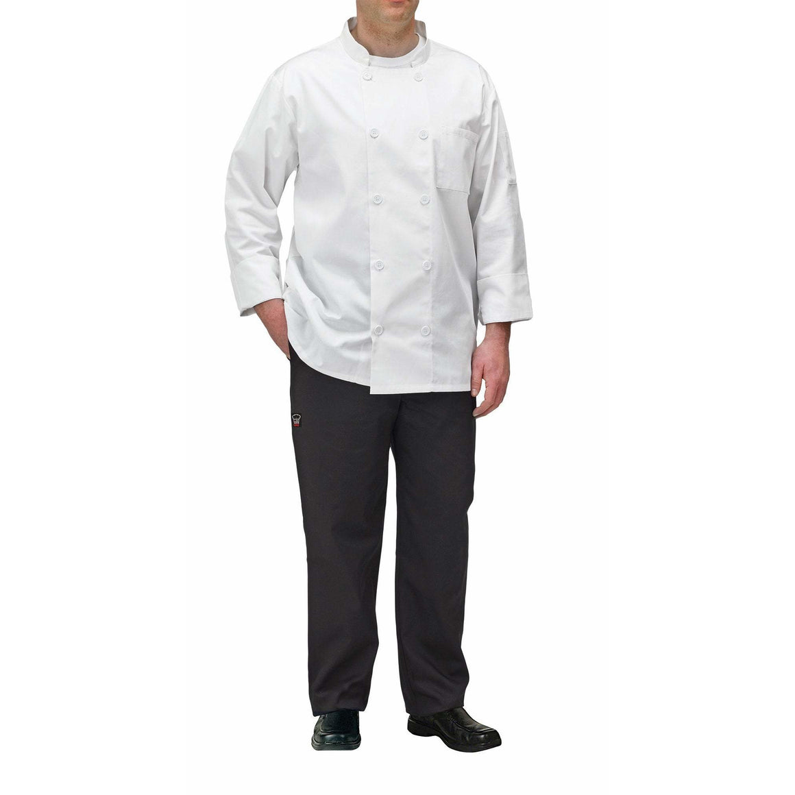 Winco - UNF-5WM - Chef jacket, white, M - Apparel - Maltese & Co New and Used  restaurant Equipment