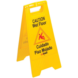 Winco - WCS-25 - Wet Floor Caution Sign, Fold-out, Yellow - Janitorial