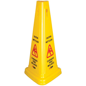 Winco - WCS-27T - Wet Floor Caution Sign, Cone-shaped, Yellow - Janitorial - Maltese & Co New and Used  restaurant Equipment