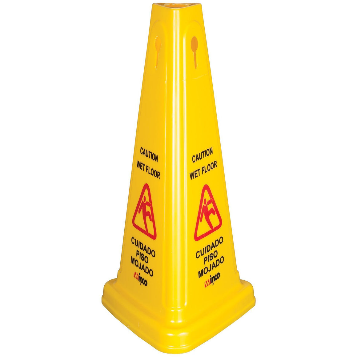 Winco - WCS-27T - Wet Floor Caution Sign, Cone-shaped, Yellow - Janitorial