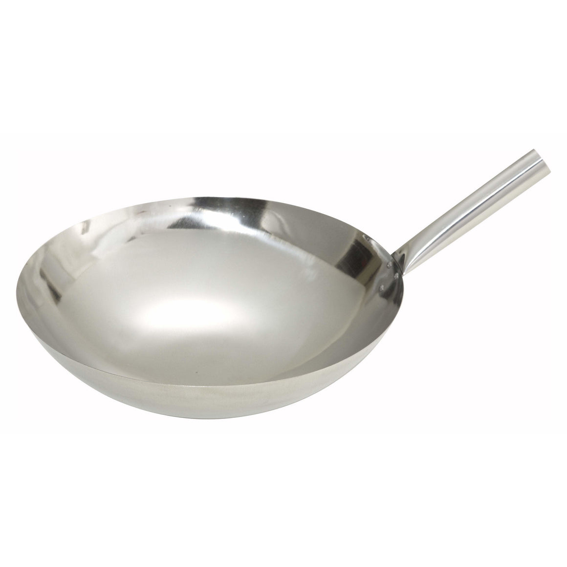 "Winco - WOK-14N - 14"" Stainless Steel Wok, Nailed Joint - Cookware"