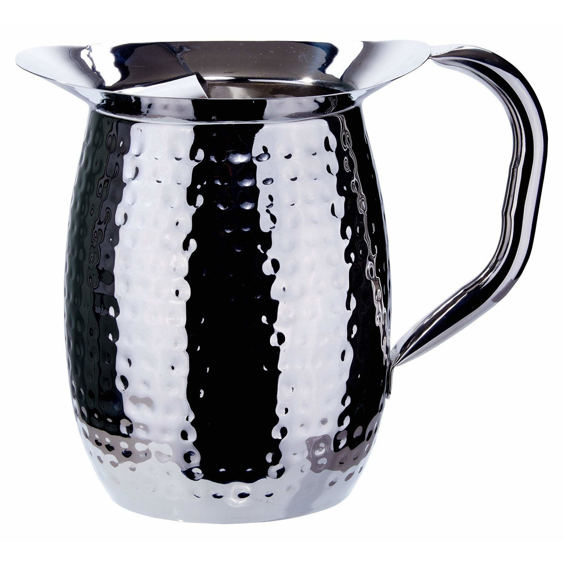 Winco - WPB-2CH - 2 Qt. Bell Pitcher w/ Ice Catcher, Hammered, Stainless Steel - Beverage Service