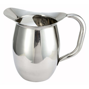 Winco - WPB-2C - 2qt Bell Pitcher w/Ice Catcher, Stainless Steel - Beverage Service