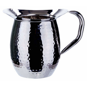 Winco - WPB-2H - 2 Quart Bell Pitcher, Hammered, Stainless Steel - Beverage Service
