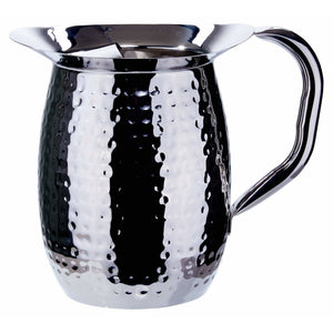 Winco - WPB-3CH - 3 Quart Bell Pitcher w/ Ice Guard, Hammered, Stainless Steel - Beverage Service