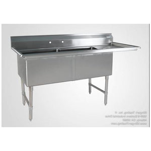Klinger- (2) Two Compartment Sink with Right side Drainboard - Maltese & Co New and Used  restaurant Equipment