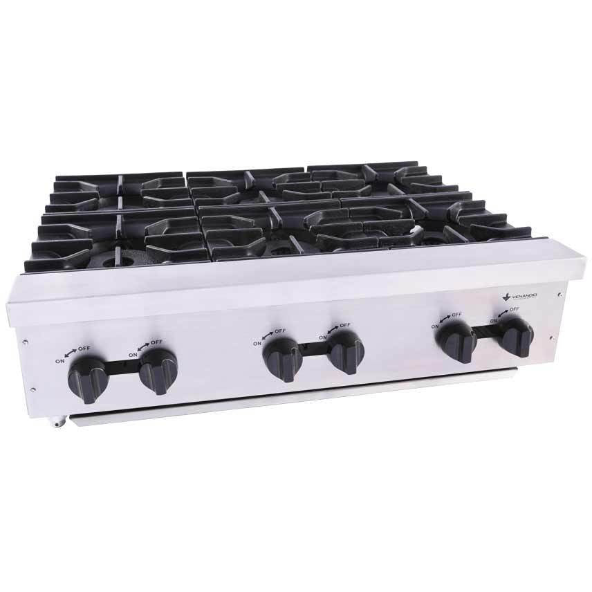 "Venancio - 36"" Gas Hot Plate - 6 Burner Controls - FA6M"