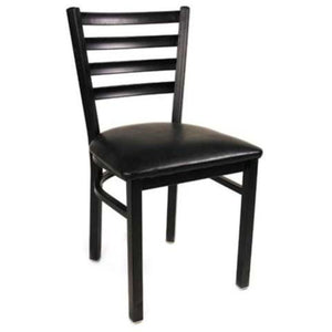 Metal Black Ladder Dining Chair - Powder Coated Frame Finish