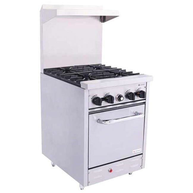 "Venancio - 24"" Heavy Duty Gas Range - 4 Burners and Oven Controls - S240"