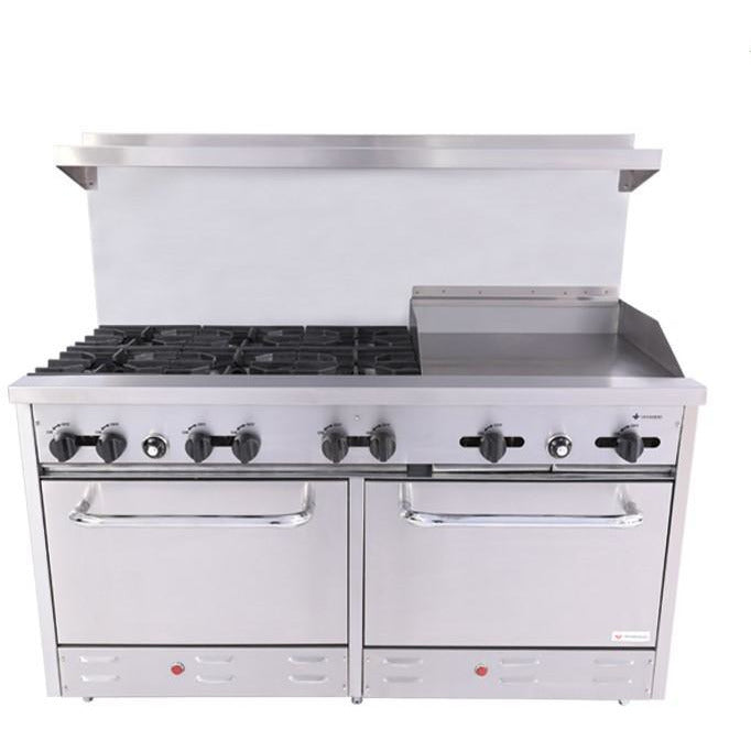 "Venancio - 60"" Heavy Duty Gas Range - 6 Burners, 24"" Griddle and Oven Controls - S36-24-2"