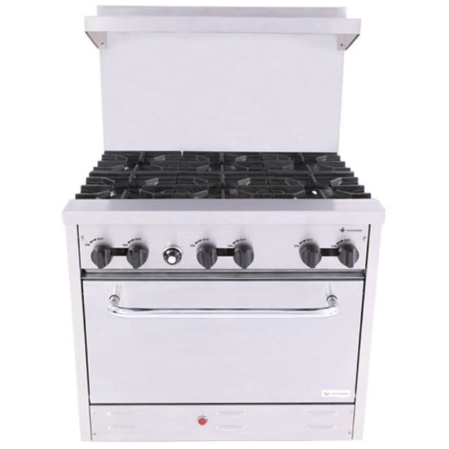 "Venancio - 36"" Heavy Duty Gas Range - 6 Burners and Oven Controls - S360"