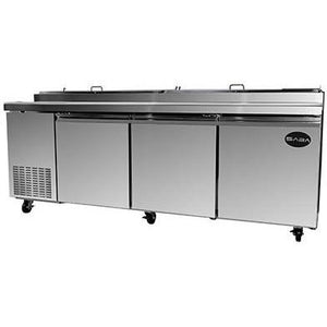 "Saba Air - 92"" Three Door Pizza Prep Table with Pans-SB-SPP709-8117-N"