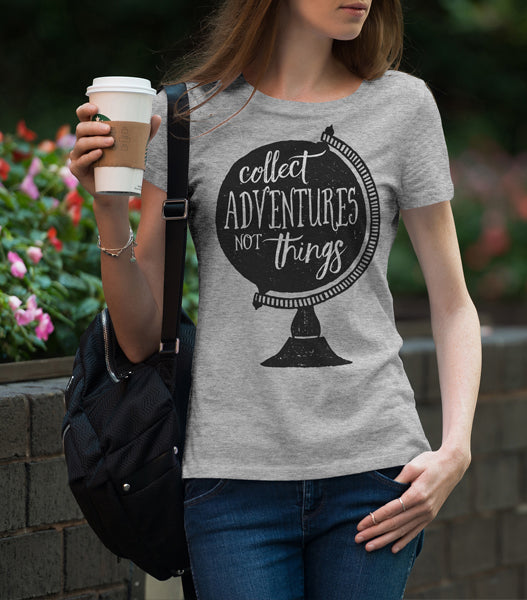 Collect Adventures - Gray - Ladies Cut -Scoop Neck