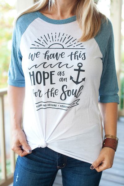 We Have This Hope / White & Denim / Unisex Baseball Tee