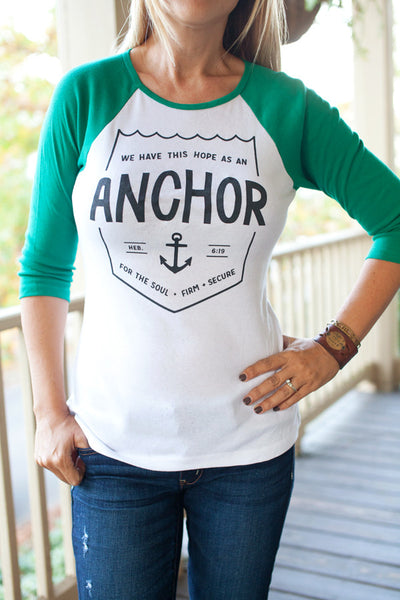 Anchor / White & Green / JUNIOR CUT Baseball Tee (Runs Small)