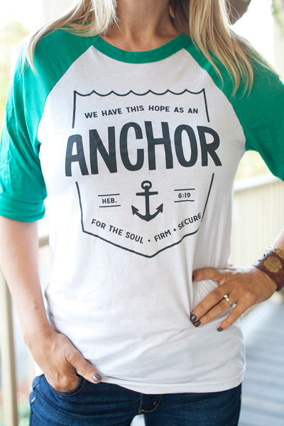 Anchor / White & Green / Unisex Baseball Tee