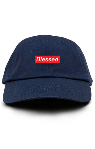 fd08996bf64 Blessed Supreme Box Logo Custom Dad Hat Adjustable Baseball Cap New - Navy