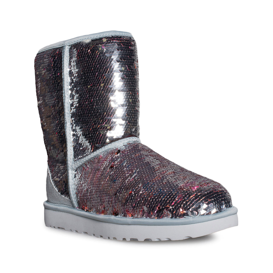 UGG Classic Short Sequin Silver Boots - Women's