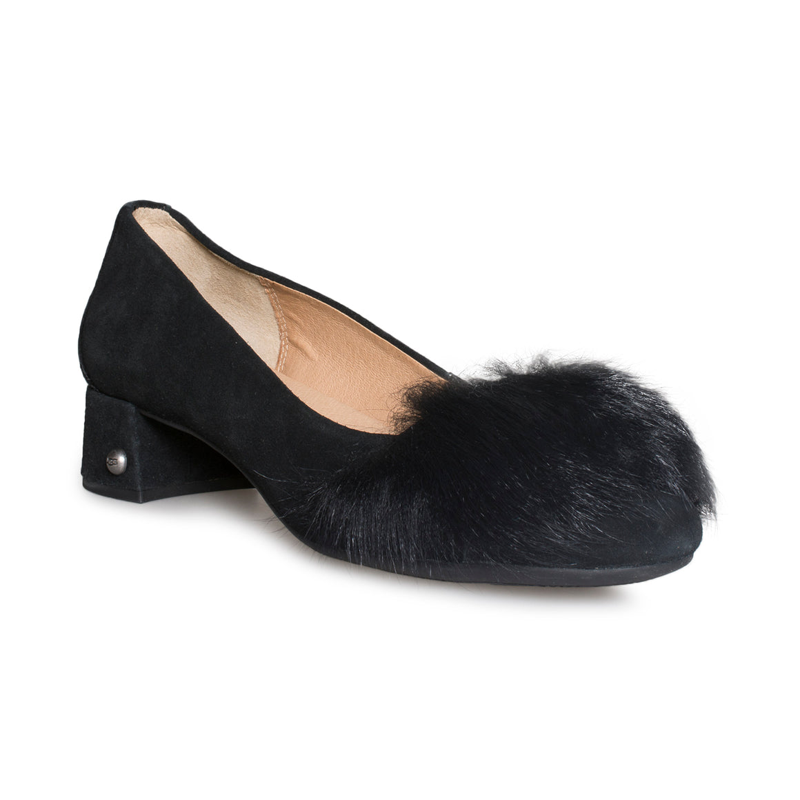 UGG Koa Fluff Heel Black Shoes - Women's