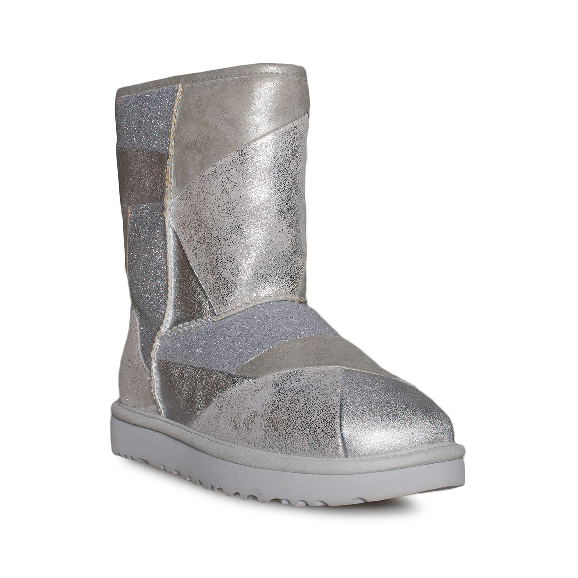 UGG Classic Glitter Patchwork Silver Shoes - Women's