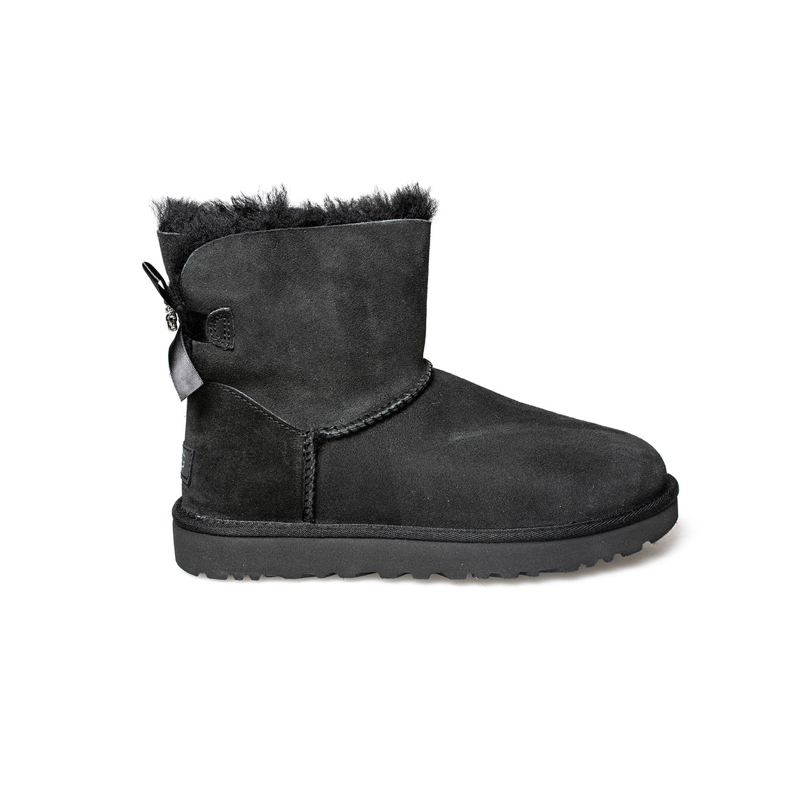 UGG Mini Bailey Brooch Black Boots - Women's