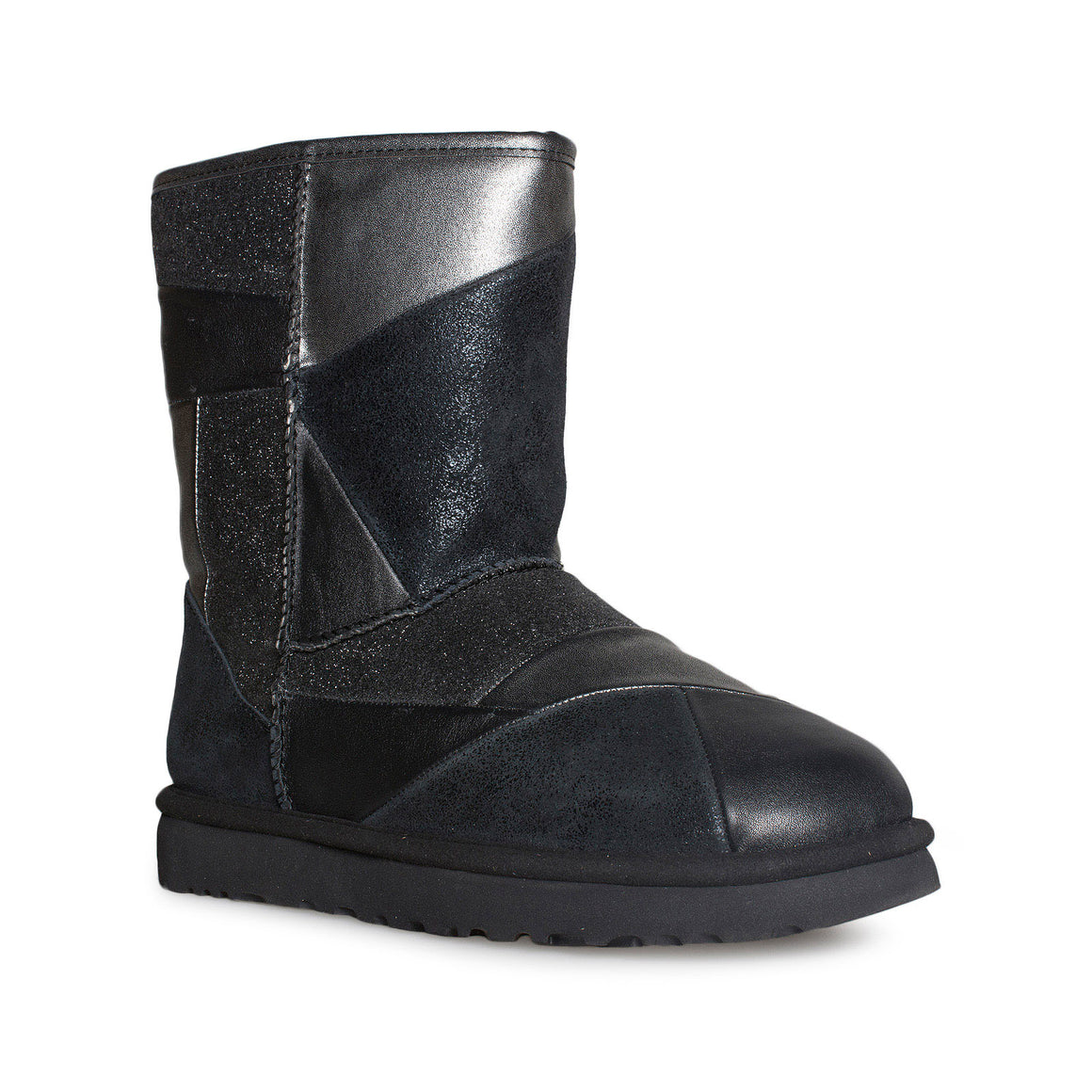 UGG Classic Glitter Patchwork Black Boots - Women's