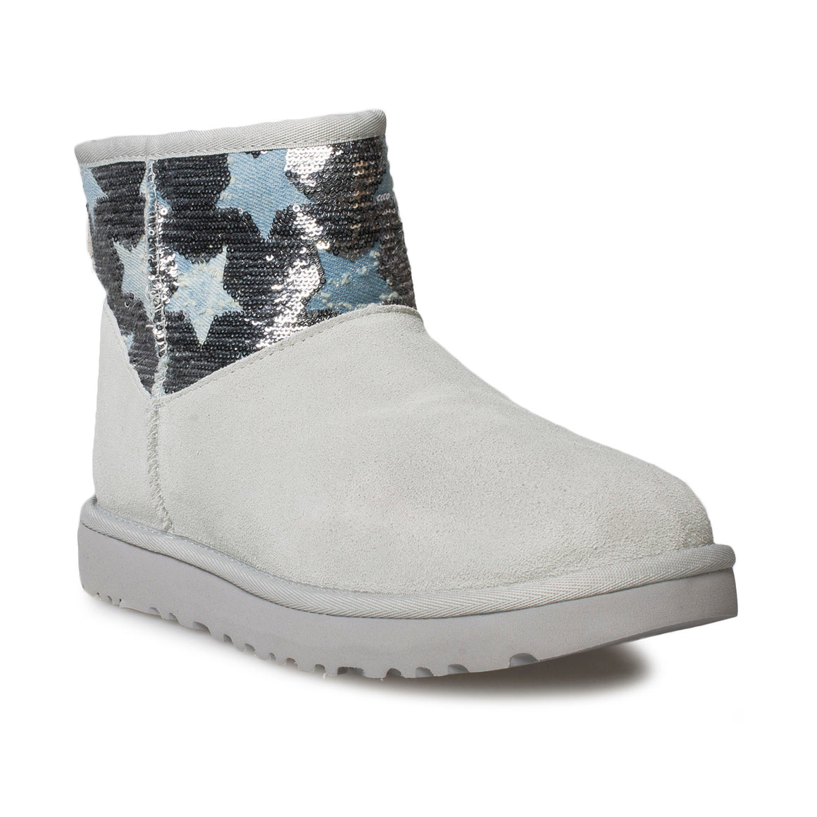 UGG Classic Mini Sequin Stars Grey Violet Boots - Women's