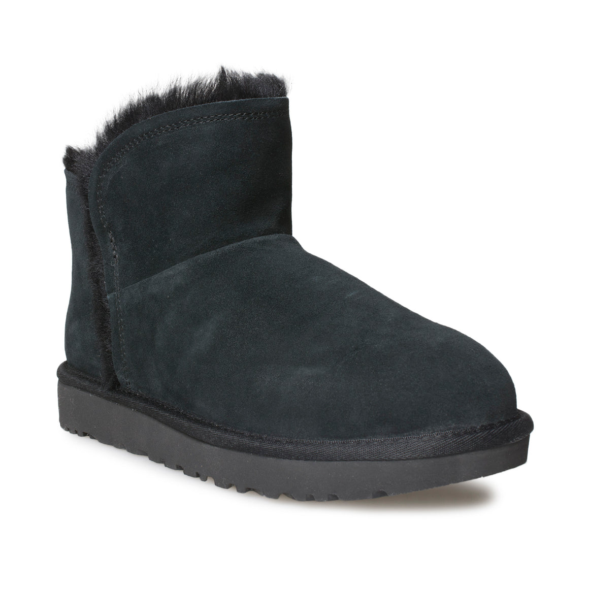 UGG Classic Mini Fluff High Low Black Boots - Women's