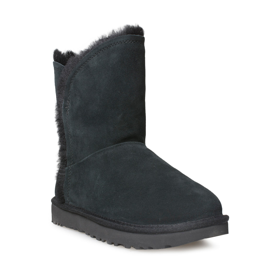 UGG Classic Short Fluff High Low Black Boots - Women's