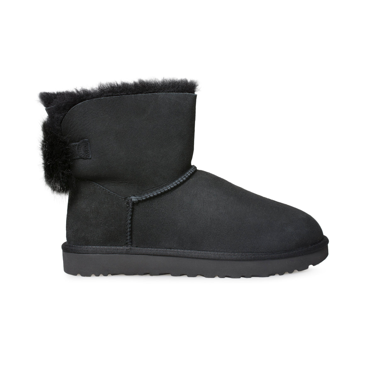 UGG Mini Puff Crystal Bow Black Boots - Women's