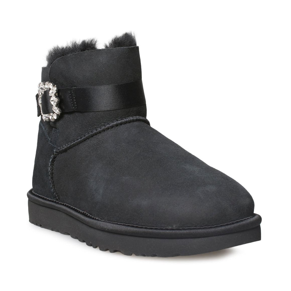 UGG Mini Side Brooch Black Boots - Women's