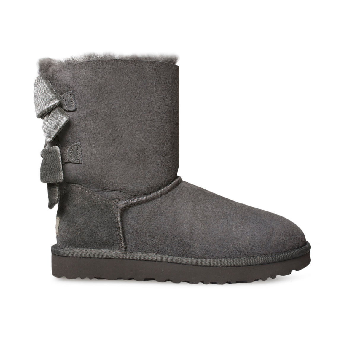 UGG Bailey Bow II Velvet Ribbon Charcoal Boots - Women's