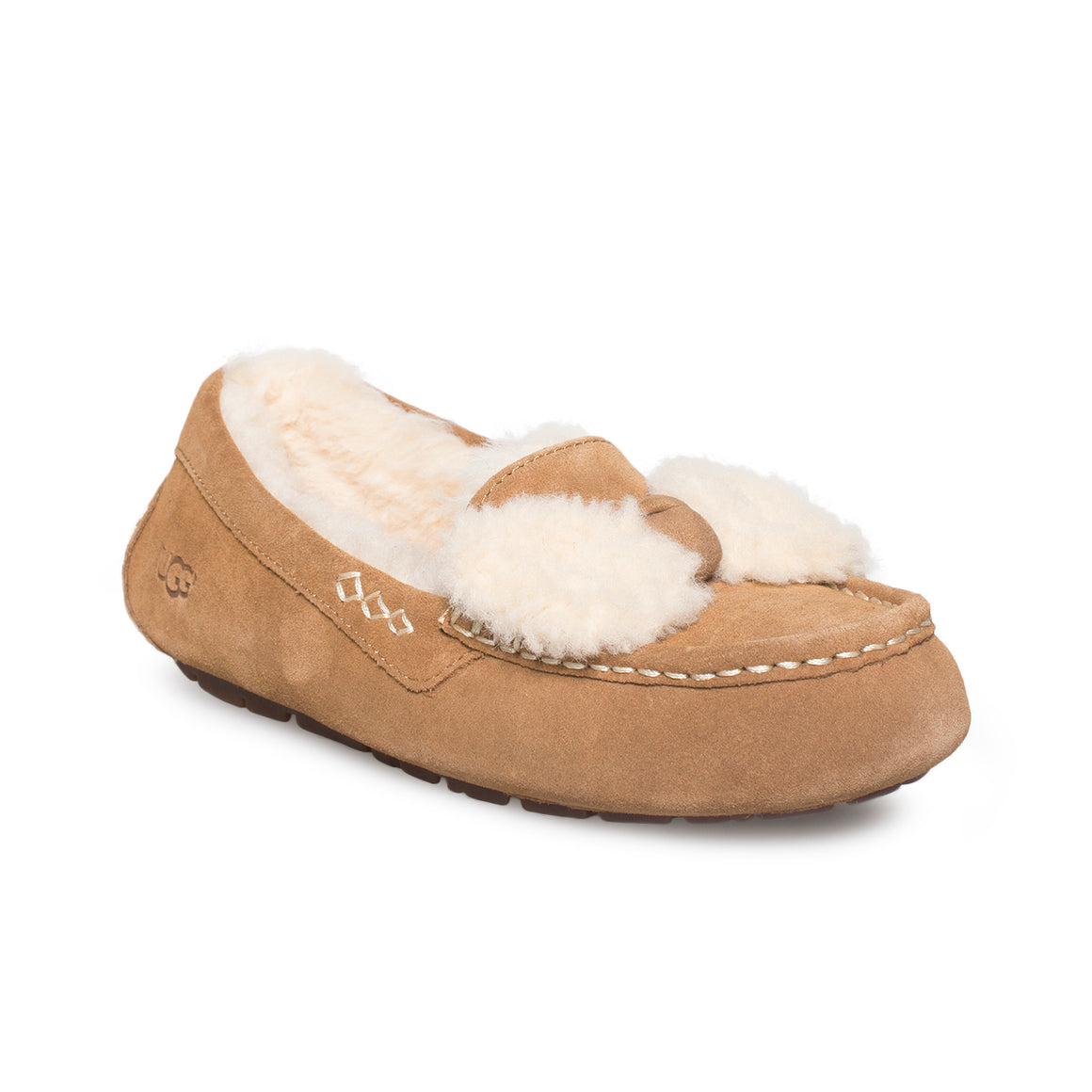 UGG Ansley Fur Bow Chestnut Slippers