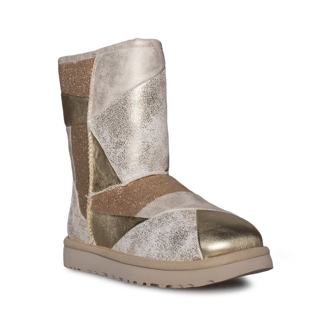 UGG Classic Short ii Patchwork Gold Boots - Youth