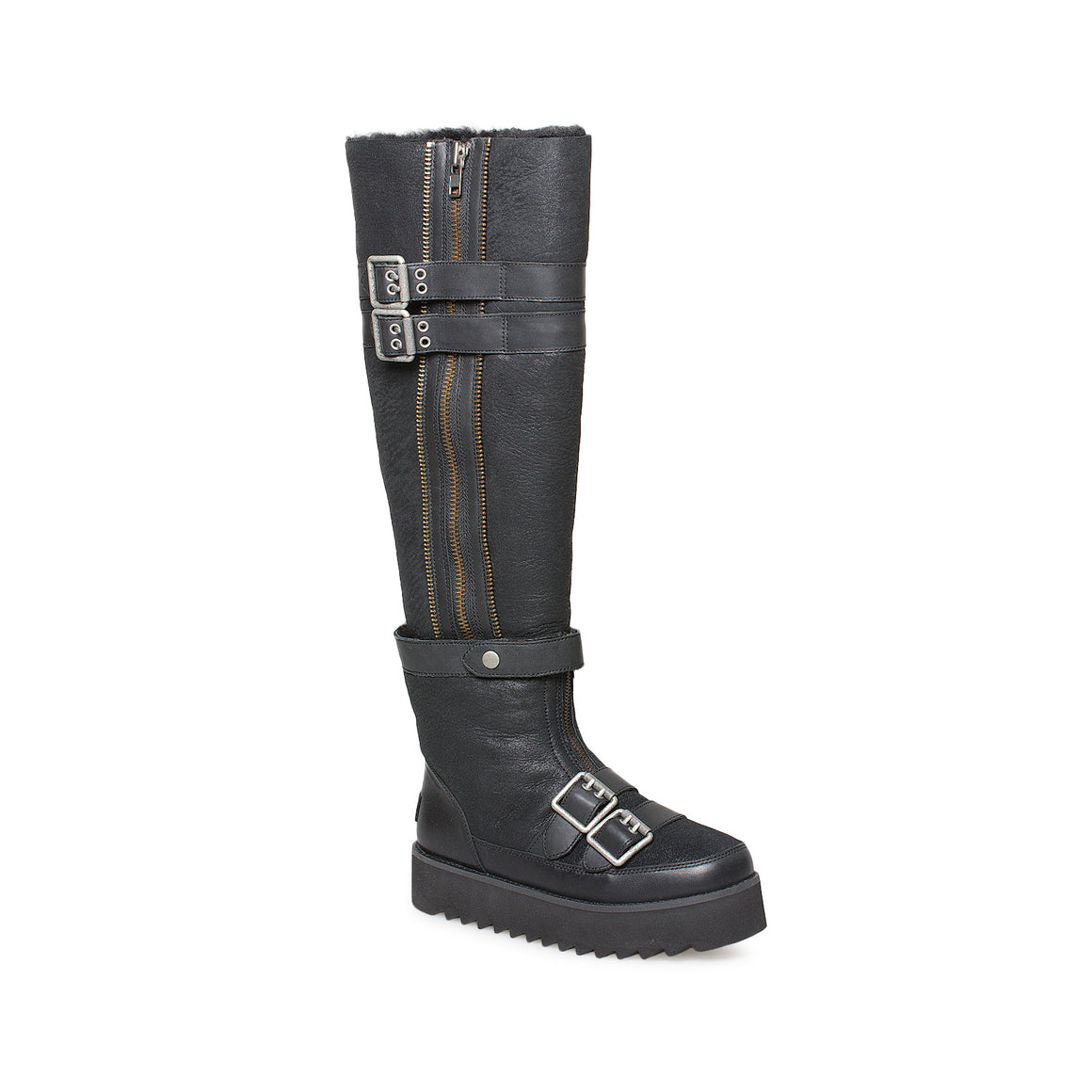 UGG Moto Punk Over The Knee Black Boots - Women's