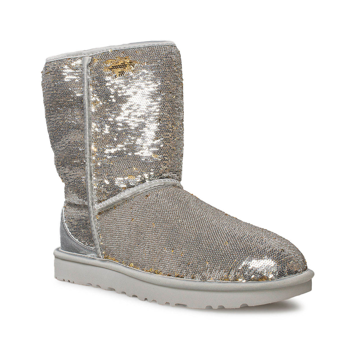 UGG Classic Short Cosmos Sequin Silver Gold Boots - Women's
