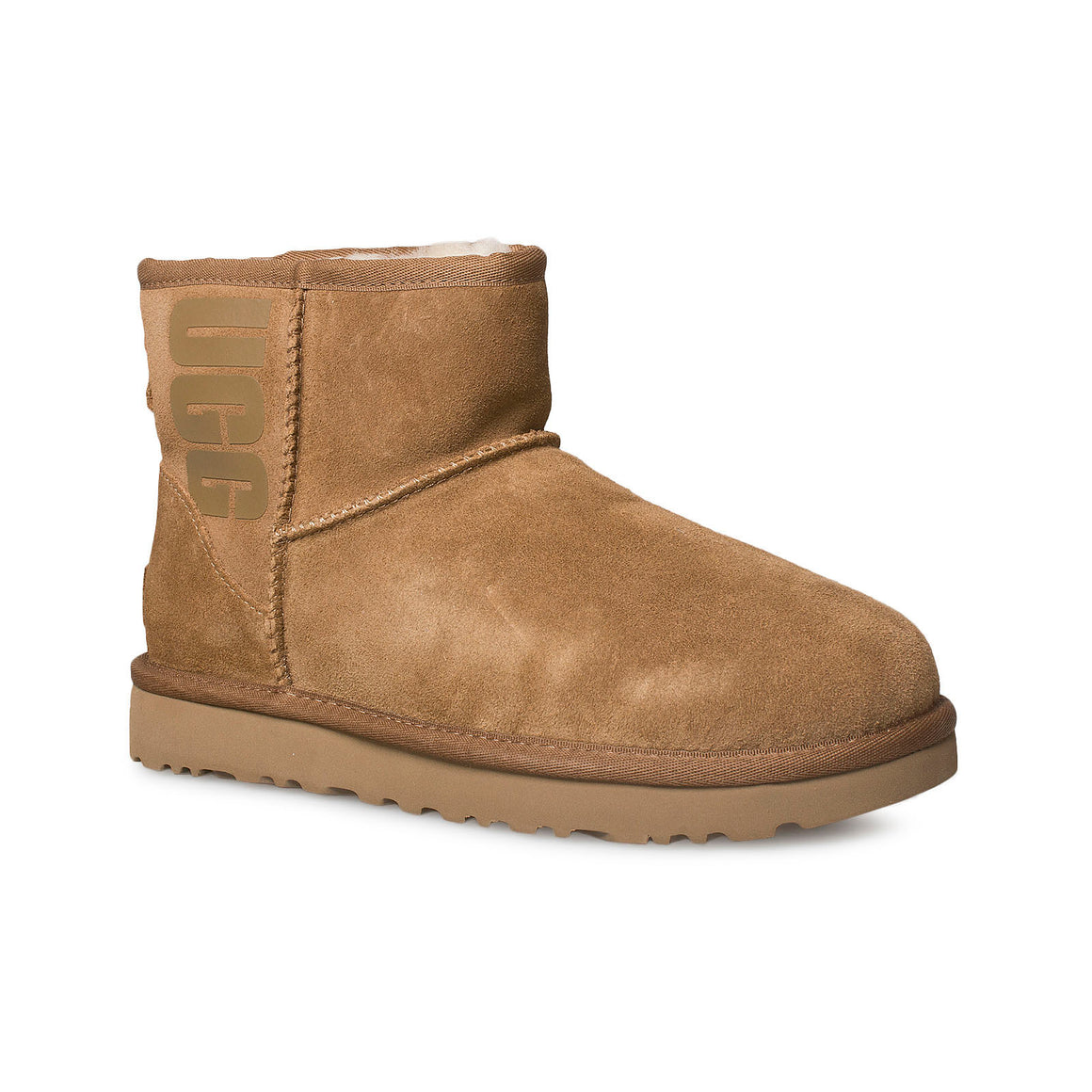 UGG Classic Mini UGG Rubber Logo Chestnut Boots - Women's