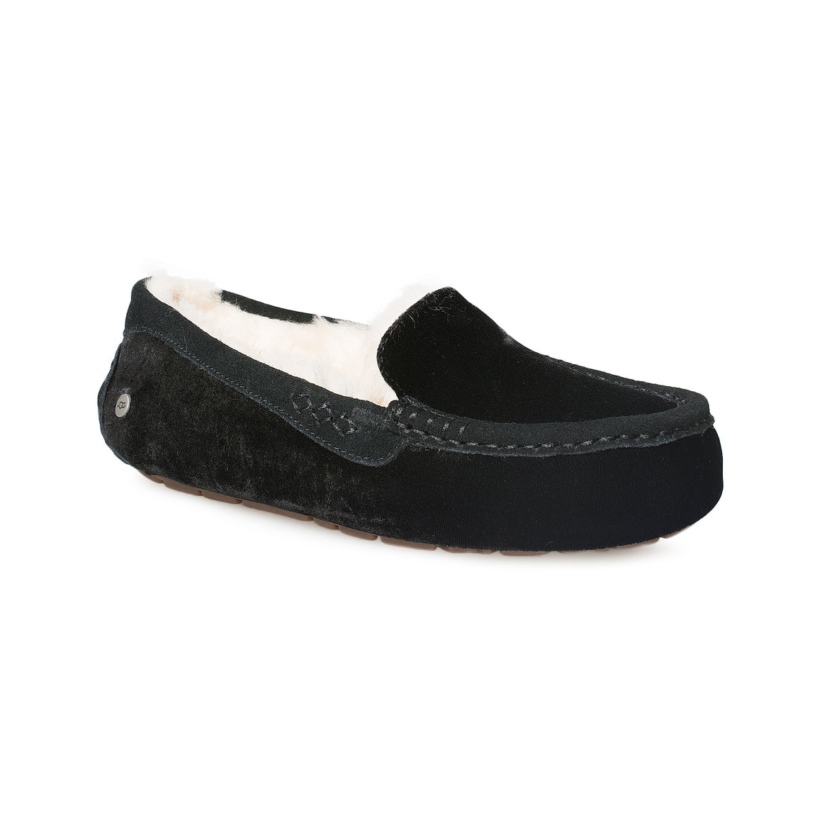 UGG Ansley Velvet Black Slippers - Women's