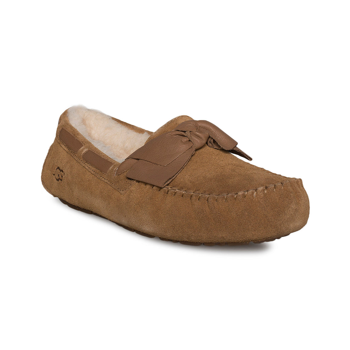 UGG Dakota Leather Bow Chestnut Slippers - Women's