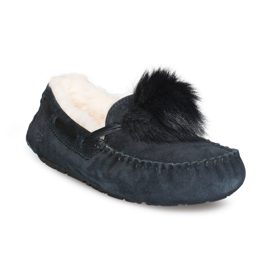UGG Dakota Pom Pom Black Slippers